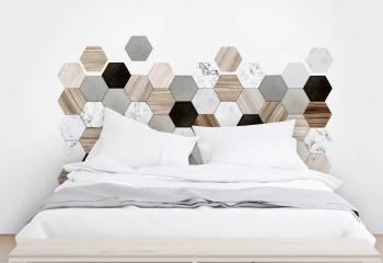 cama con cabecera de vinil