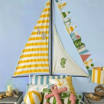 cama con cabecera en forma de barco