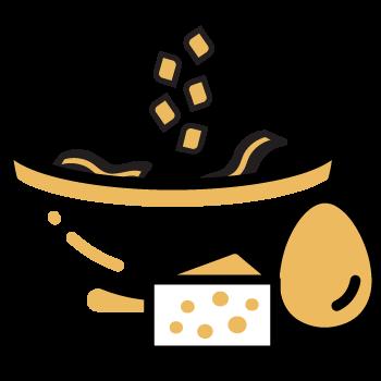 agregar pasta, huevo y la mitad de queso