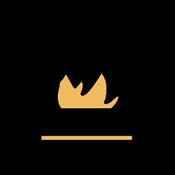 Icono de sartén en fuego