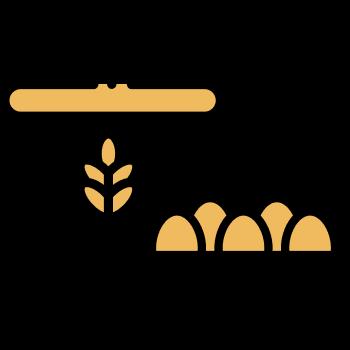 Icono de un envase de harina y caja de huevo