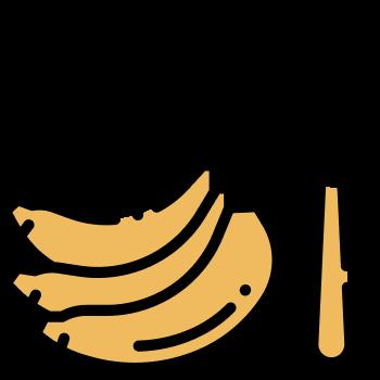 icono de un tenedor y plátano