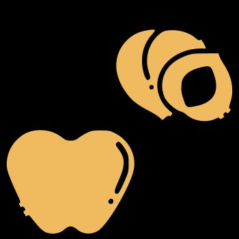 icono de manzana y durazno