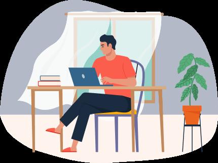 Hombre sentado con computadora en escritorio