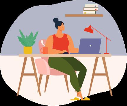 Mujer sentada con computadora en escritorio
