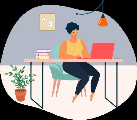 Mujer sentada con computadora espacio de estudio