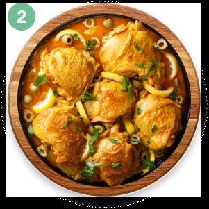 Pechuga de pollo guisada con muchas verduras