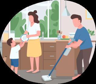 Ilustración de familia haciendo aseo