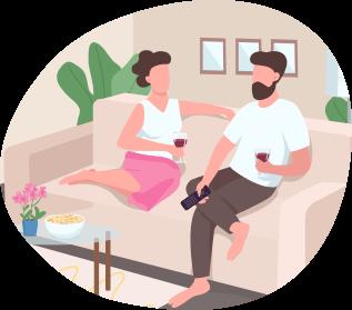 Ilustración de pareja saliendo de la rutina tomando vino