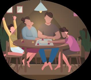 Ilustración de personas jugando juegos de mesa