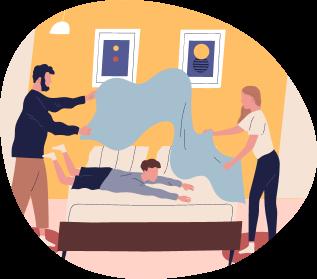 Ilustración de personas tendiendo la cama