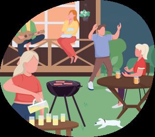 Ilustración de reunión familiar en concurso