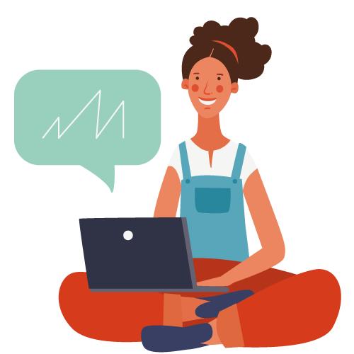 Ilustración de mujer con laptop