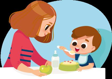 Ilustración de mamá y bebé de seis meses comiendo papillas