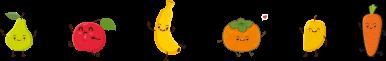 Ilustraciones de frutas animadas para papillas
