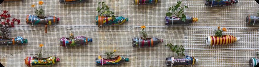 imagen de maceta reciclada con botellas de plástico para la pared