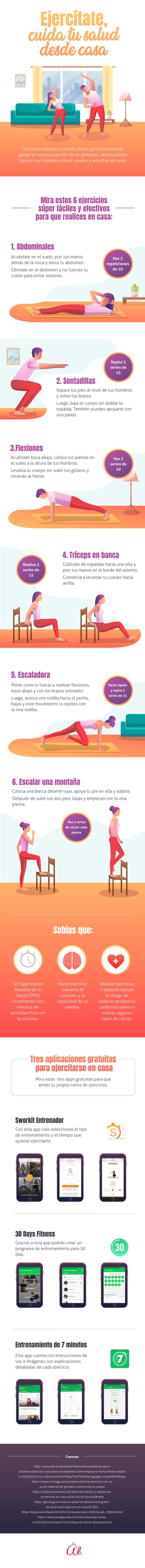 ejercicios para hacer en casa - Infografia