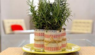 Centro de mesa de hierbas aromaticas